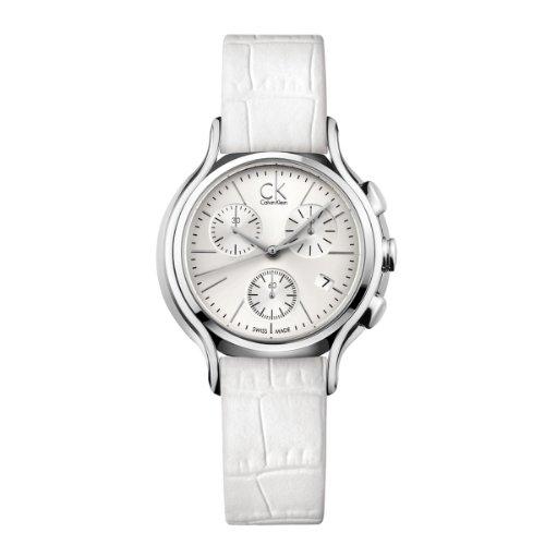 Calvin Klein K2U291L6 - Reloj cronógrafo de cuarzo para mujer con correa de piel, color blanco