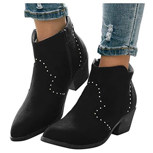 Abvenc Donna Stivaletti Chelsea con Tacco Alto, Stivali Ankle Boots Cuoio Flat Bassi Blocco Zeppa Casual per Autunno e Inverno Ragazza (Nero, EU:39.5)