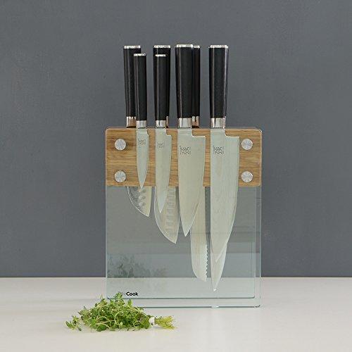 procook-x100-vg10-damascus-set-de-couteaux-en-acier-damas-8-pieces-avec-bloc-a-couteaux-en-verre-et-