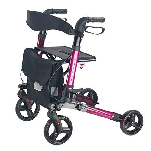 Junior Rollator Walker mit Sitz, Drive Medical Roll Walker Faltbarer, 4 Räder Mobilität Gehhilfen Doppelbremssystem, benutzt für Senioren Wandern,Purple -