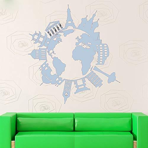 guijiumai Decalcomania della Parete del Vinile Arte complementi arredo casa Mappa dei luoghi Famosi Viaggi più Cool Poster Decorazione della Parete Removebale murale Y 7 85X91 CM