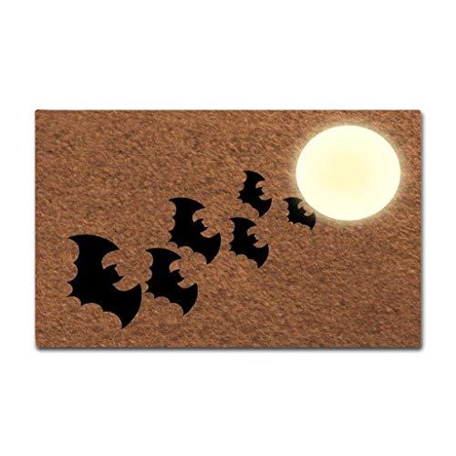 Shinewe Halloween-Fußmatte mit Fledermaus-Motiv, lustige Eingangsmatte, für drinnen und draußen, Rutschfest, 45 x 75 cm