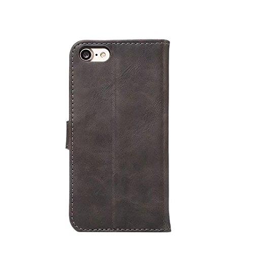 EKINHUI Case Cover Crazy Horse Texture Faux Leder Geldbörse Tasche, Horizontale Folio Stand Case Cover mit Kickstand & Card Slots & Magnetische Verschluss für iPhone 7 ( Color : Red ) Gray