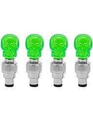 ecyc 4piezas Diseño de calavera tapón de la válvula rueda Led luz lámpara, A02:Green