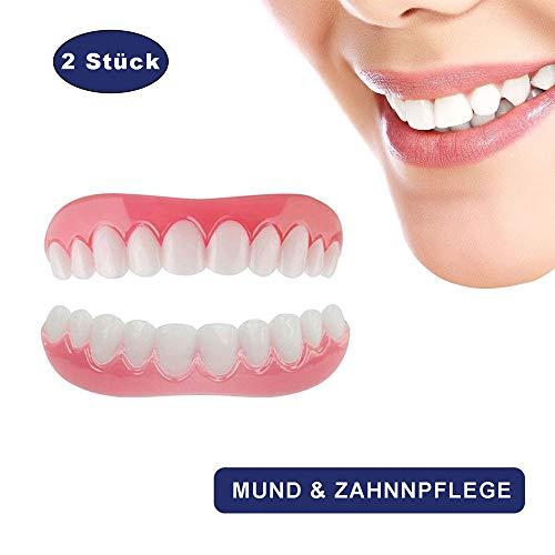 Kosmetik Zähne Prothese Extra Dünn 1 Paar Temporär Lächeln Komfort Fit Zahnersatz Provisorischer Veneers für Oberkiefer und Unterkiefer - Man Make-up Wie