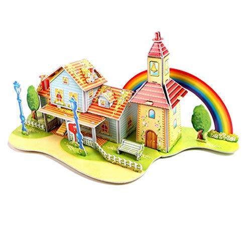 3D DIY Puzzle Baby-Spielzeug-Kind-Early Learning Schloss BAU Muster-Geschenk für Kinder Brinquedo Educativo Häuser Puzzle (Rainbow House) (Bau-spielzeug Für Kinder)