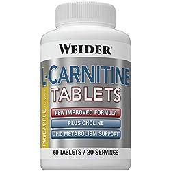 Weider L-Carnitine. Favorece la eliminación de grasa y la pérdida de peso. Sabor Piña (60 Tabletas)