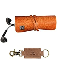 Genuine Leather Cords Wrap Organizer And Leather Key Holder Combo Pack