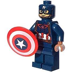 GENUINO Lego Capitán América Minifigura - Separado de 76051 Set