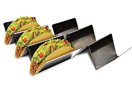 er-Ständer von Love Tacos Mucho, Edelstahl, für bis zu 3 Tortillas, ofen- und spülmaschinenfest, mexikanisches Lebensmittelzubehör, Lebensmitteltablett für Partys, Muschel-Maker ()