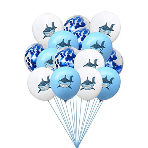 Amosfun 15 Stücke Runde Latexballons Dekorative Shark Konfetti Ballons für Nautische Thema Baby Shower Birthday Party Dekorationen 12 Zoll (Ohne Schnur)