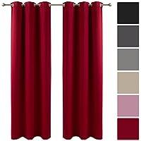 decolicious juego di 2 cortinas opacas con ojales rojo vivo 117x137 cm - Cortinas Rojas
