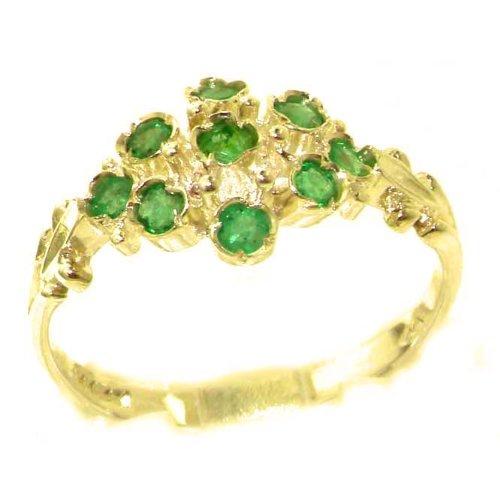 Ungewöhnliche & Große Luxus Damen Ring 9 Karat Gold Gelbgold mit Hallmarks ECHT Smaragd - Verfügbare Größen : 50 bis 64