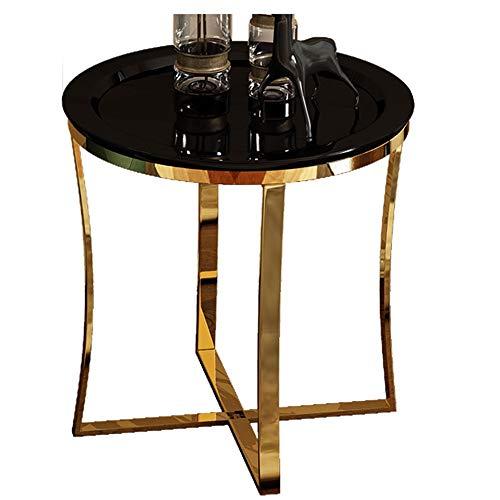 Table Basse Ronde/Table Basse de Salon, matériel en Bois Exquis, Meubles de décoration de Bureau à la Maison de Salon, Noir (47 × 47 × 55,5 cm)
