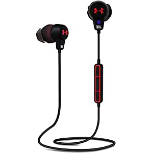 Under Armour Headphones Wireless - Engineered by JBL - In-Ear Kopfhörer mit Integriertem 3-Tasten-Mikrofon und Universalfernbedienung - Rot/Schwarz