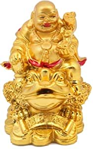 JaipurCrafts Laughing Buddha With Coins Showpiece - 7.62 cm (Stoneware, Multicolor)