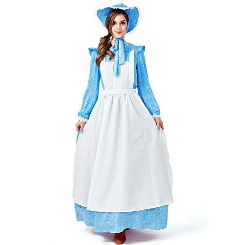 Maid French Kostüm Rosa - ZQ Maid Costume French Manor Maid Fancy Dress Baumwolle Rosa Maid Costume Langarmkleid mit weißer Schürze und Kopfbedeckung,XL