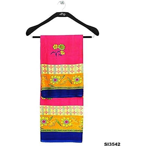 Floral Impreso Bollywood diseñador indio Mujeres Sari mezcla de seda Nueva Pareo vestido rosado Sari 5YD