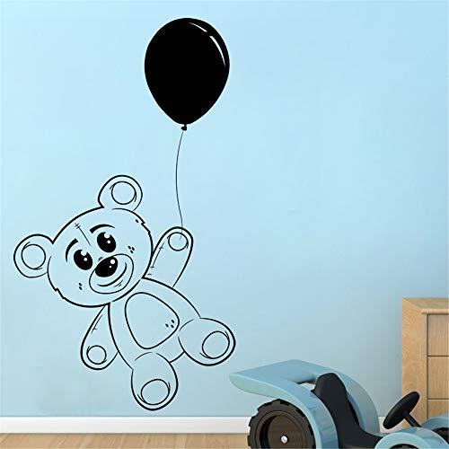Ballon Und Teddybär Wandaufkleber Schlafzimmer Wanddekor Vinyl Abnehmbare Spielzeug Wandtattoos Für Kinder Baby lila 77x59 cm ()