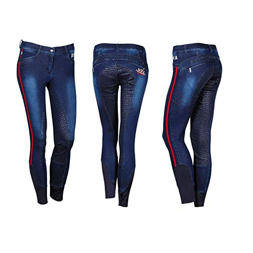 netproshop Damen Jeans-Reithose Bollington mit Kontrastfarben und Silikonaufdruck, Damengroesse:40, Farbe:Dunkelblau