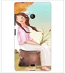 PrintDhaba Sitting Girl D-2658 Back Case Cover for MICROSOFT LUMIA 540 (Multi-Coloured)