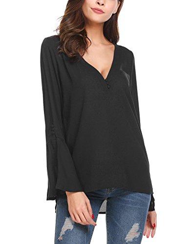 Damen Abend-shirt (Chigant Damen Chiffon Bluse Shirt Tops in V-Ausschnitt mit Unifarben Langarmel Fake-Druckknopf Trompetenärmeln Seitenschlitz …)