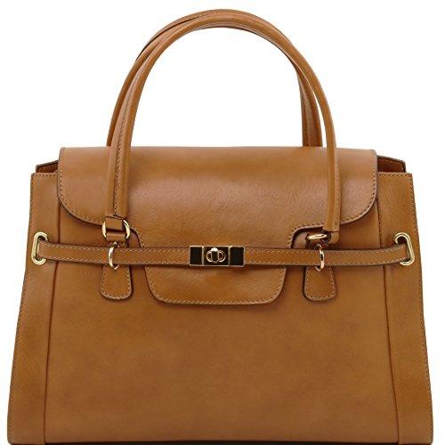 Tuscany Leather - TL NeoClassic - Sac à main en cuir avec fermoir twist Rouge - TL141230/4 Taupe foncé