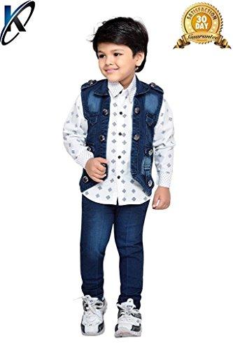 Krystle Boys Shirt,Waistcoat and Demin Set (DENIM-SET-AJ-3-4YEARS_Blue_3-4 Years)