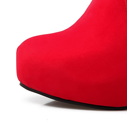 AalarDom Damen Mitte-Spitze Hoher Absatz Rund Zehe Rein Mattglasbirne Stiefel Rot