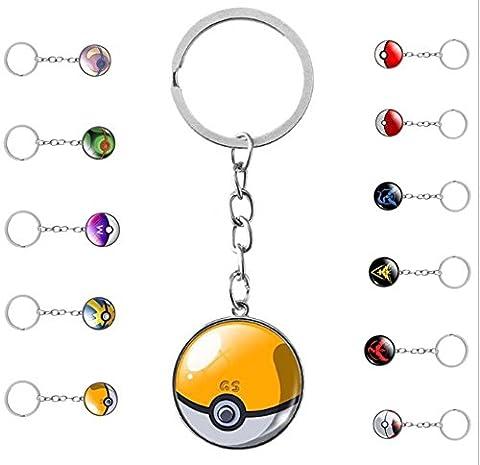 Collection Porte-clés Pokémon • Cabochon en verre • Jeu Pokemon GO • Keychain Les Amis de Pikachu (Pokeball • GS Ball