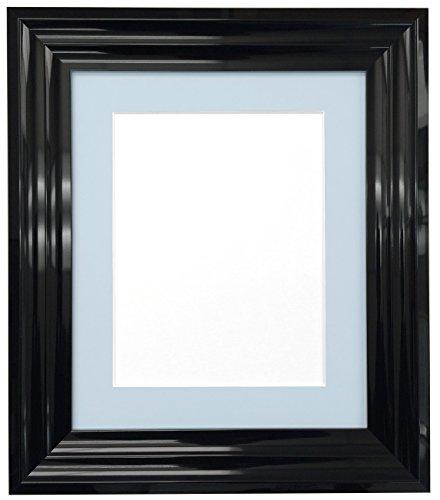 Frames By Post Bilderrahmen, Firenza Schwarz hochglanz mit Passepartout, plastik, Light Blue Grey Mount, 6