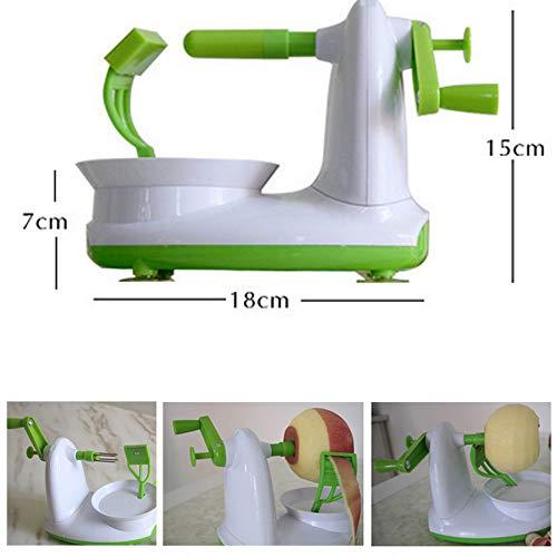 Apple Schäler Hand schütteln Frucht-Schäler Rapid Manual Set mit 8-Blade Slicer Five Second Peeling Machine Household Küchengadget tragbaren Gürtel (Weiß und Green) 180×110×150mm -