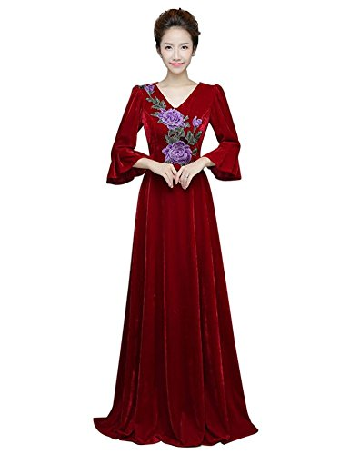 Drasawee Damen Empire Kleid Weinrot