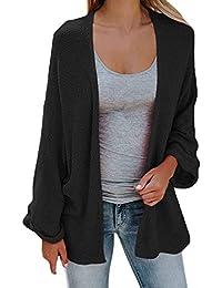 Cardigan Mujer Primavera Otoño Color Sólido Chaqueta De Punto Basic  Elegante Casual Mangas De Murciélago Tallas Grandes Abrigo Tejido… 426225c1bb29