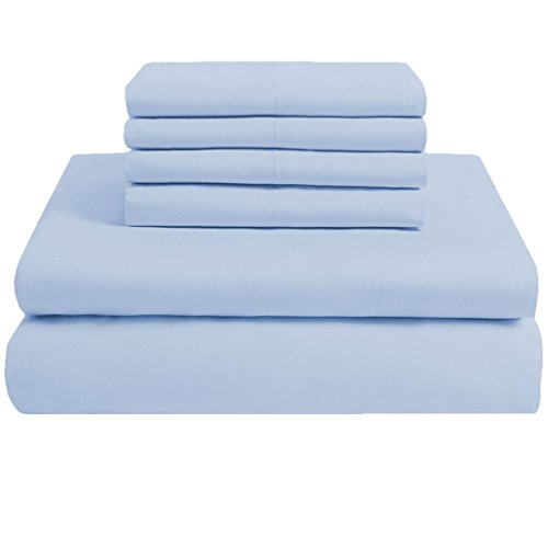 scalabedding 800 Fadenzahl 100% ägyptische Baumwolle 6 Stück California Queen Size Deep Pocket Sheet Set solid sky blue -