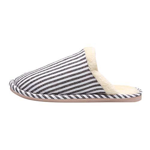 JJggsi4 Pantofole da Uomo Bicolore in Memory Foam in Caldo Cotone Invernale Antiscivolo Pantofole da casa Calde Antiscivolo a Pavimento Floccato a Strisce-Unisex