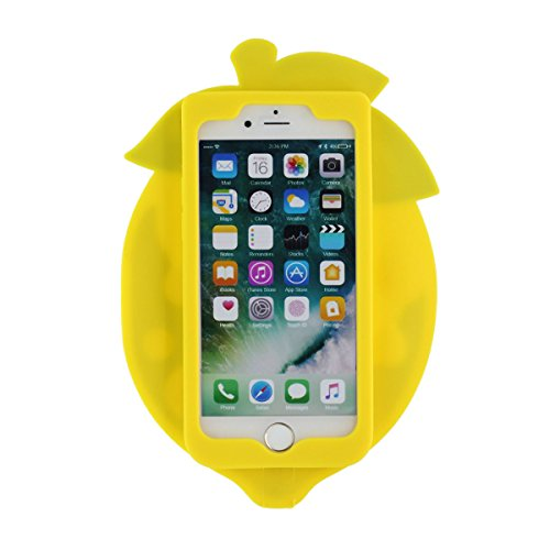 "iPhone 7 Coque Case, Souple Poids léger Silicone Etui Apple iPhone 7 4.7"", Anti Choc 360° protection Joli Fruit Style Citron Apparence X 1 Stylet Jaune"