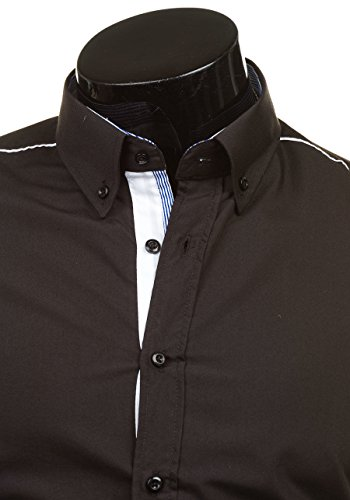 BOLF Langarm Herrenhemd Hemd Figurbetont Freizeit Classic Men Slim Fit 6875 Schwarz