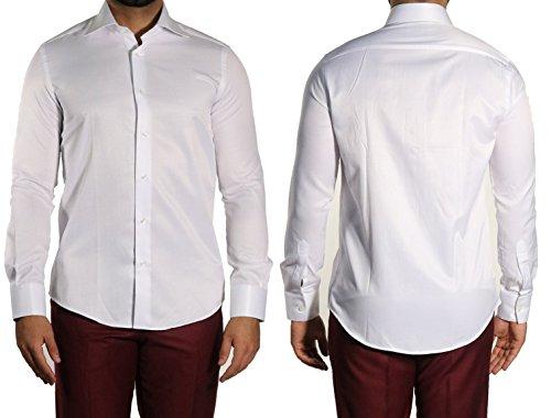 diagonal gestreiftes Herrenhemd Slim-fit/Tailliert MMUGA Weiß