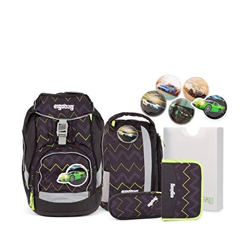 Ergobag Pack Drunter und DrüBär -Schwarz, ergonomischer Schulrucksack, Set 6-teilig, 20 Liter, 1.100 g, Schwarz