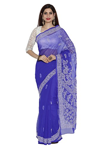 ADA Lucknow Chikankari Hand Embroidery Faux Georgette Saree with Blouse A204508