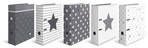 Herma 7188 Set Karton Motivordner DIN A4, Serie Sterne, 70 mm breit, 10 Ordner, Sortiment mit mehreren Motiven, mit Innendruck