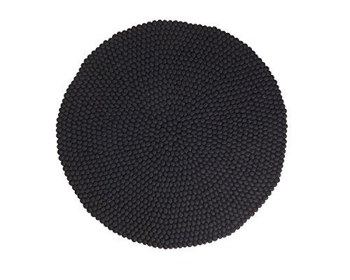 Jessica: rund Atemberaubende Schwarz Gefilzt Woll-Kugeln Teppich aus Nepal , Günstig Kaufen Online (150cm / 4' 11'')
