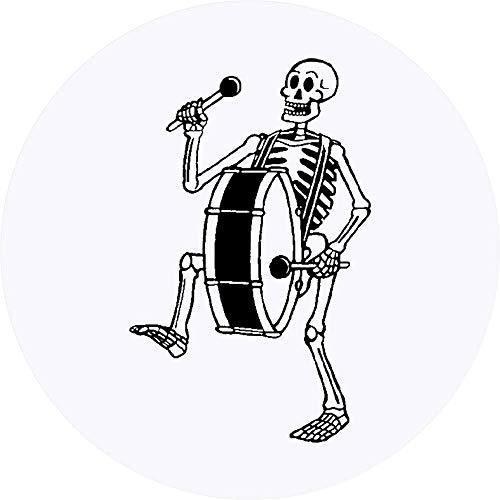 Azeeda 24 x 40mm Runden 'Skelett mit Bassdrum' Aufklebern / Stickers (SK00000752)