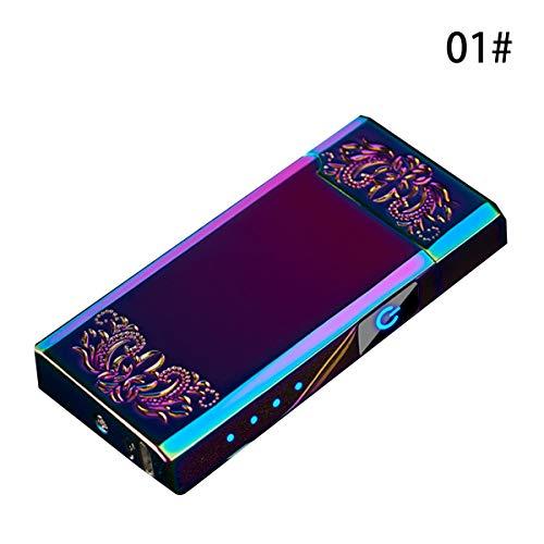 WINTER DONG Elektronisches Feuerzeug, USB Elektro-Feuerzeug Dual Lichtbogen, Touchscreen Plasma Feuerzeug Mit Batterieanzeige für Küche Touch-screen-plasma