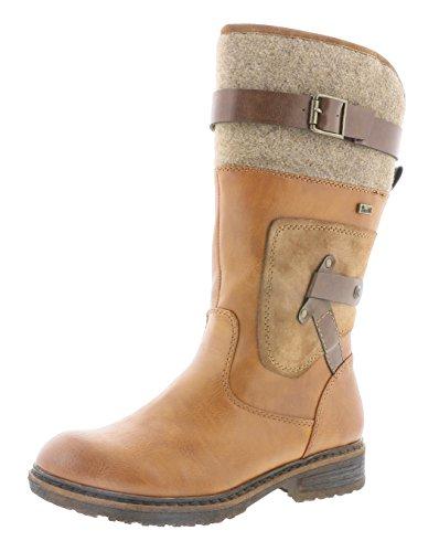 Rieker Damen Klassische Stiefel 94761,Frauen Boots,Reißverschluss,Blockabsatz 3.8cm,Cayenne/REH/testadimoro/Wood, EU 40
