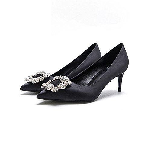 YIXINY Escarpin F338-3 Chaussures Simples Femme Soie + PU Faux Diamant Amende Talon Pointu La Bouche Peu Profonde Mariage Talons Hauts Noir