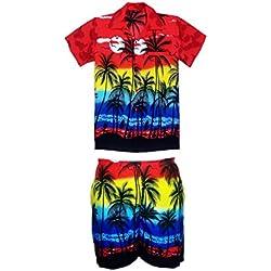 SAITARK Camisa y Pantalones Cortos Hawaianos para Hombre, diseño de Playa, para Fiestas, Verano y Vacaciones - Large - Rosso