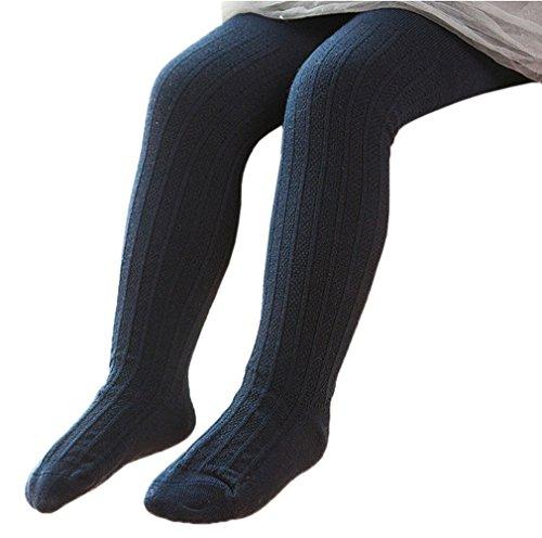 Smile YKK Mignon Chausettes Pantalon Tricot Unisexe Fille Epaissir de Chaud Bleu Noir Rayures