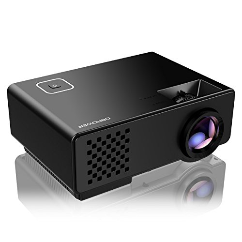 DBPOWER RD810 1500 Lumens LCD Mini Projector Multimedia Home Theater Video Projector Support 1080P TV HDMI USB  VGA Laptop iPhone Android Smartphone ,Black